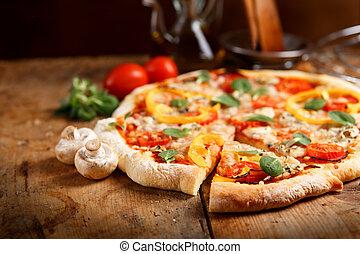 listo, fresco, comer, pizza