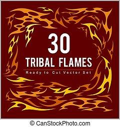 listo, fuego, set., vinilo, llamas