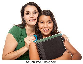 listo, hispano, escuela, hija, madre