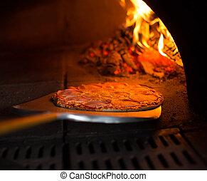 listo, horno de pizza, obteniendo