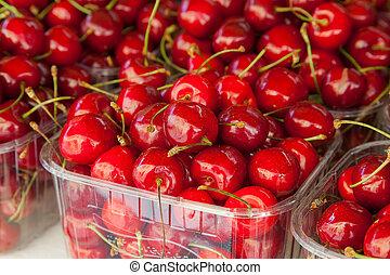 listo, market., cerezas, comer, exhibición