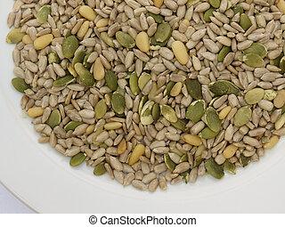 listo, mezcla, semilla, comer