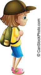 listo, niña, joven, excursionismo
