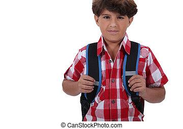 listo, niño, escuela, ir