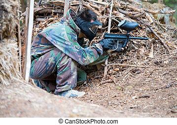 listo, paintball, disparando, francotirador
