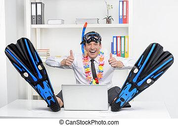 listo, para, vacation., alegre, hombre de negocios, en,...
