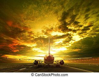 listo, pasajero, pistas de aterrizaje, uso aeropuerto, ...