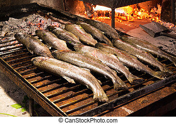 listo, ser, trouts, cooked.