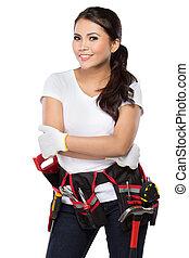 listo, trabajo de construcción, trabajador, hembra