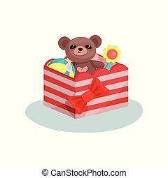 listrado, caixa, com, arco vermelho, cheio, de, crianças, toys., cute, urso teddy, bola inflável, e, flower., apartamento, vetorial, ícone