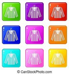 listrado, pajama, camisa, ícones, 9, jogo