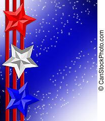listras, 4th, estrelas, patriótico, julho, borda
