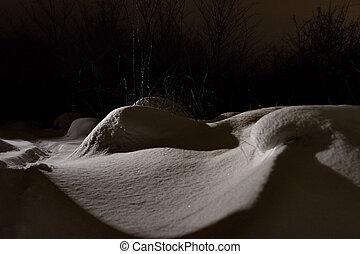 lit boven, sneeuw, op, grond