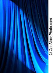 lit, brillantemente, concepto, teatro, cortinas