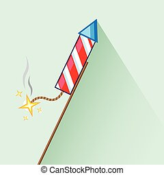 lit, celebración, cohete, fuegos artificiales