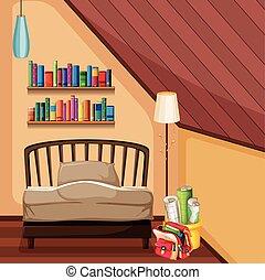 lit, chambre à coucher, étagères