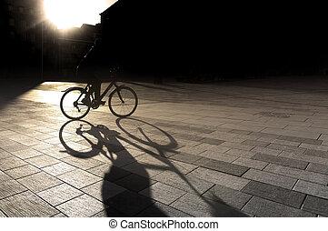 lit, ciclista, espalda