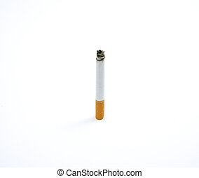 Lit cigarette isolated on white