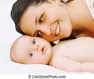lit, closeup, maman, bébé, portrait, heureux