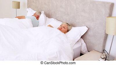lit, couple, paisible, dormir