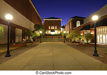 Lit courtyard and common area