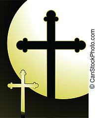 Lit cross - Cross and shadow lit in dramatic spotlight