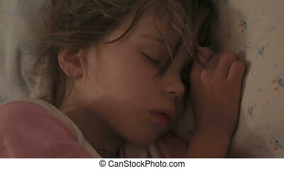 lit, dormir, elle, girl, peu