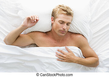 lit, dormir, homme, mensonge