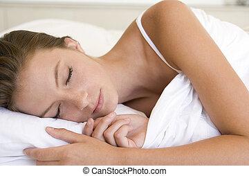 lit, dormir, mensonge, femme