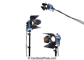 lit, freigestellt, beleuchtung, white., lampen, drei, ausrüstung
