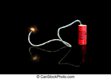 Lit Fuse on an M-80 Firecracker - A lit fuse on an old M-80...