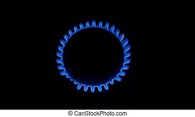 Lit gas burner and off. Close up