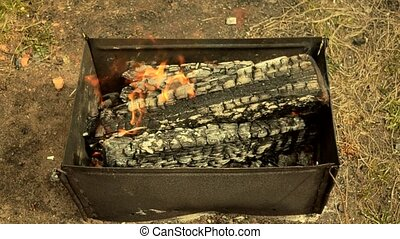 lit, gril, feu