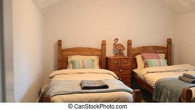 lit, jumeau, chambre à coucher