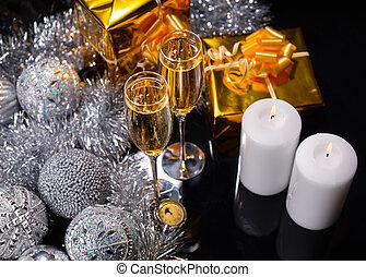 lit kaarzen, met, bril, van, feestelijk, champagne