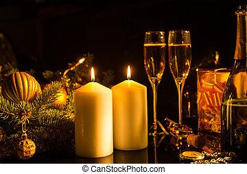lit kaarzen, met, feestelijk, bril van de champagne