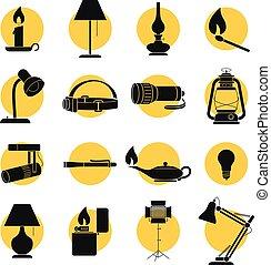 lit, lampe, zurück, sihouettes
