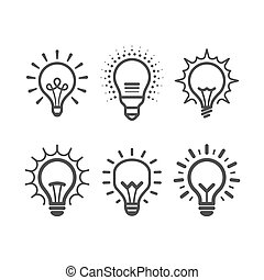 Lit light bulb icons set