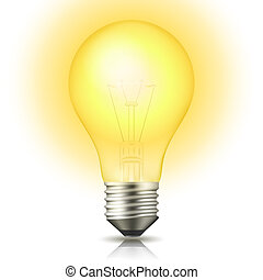 Realistic lit light bulb isolated on white