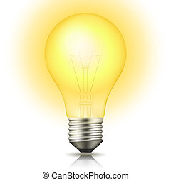 Lit Light Bulb - Realistic lit light bulb isolated on white...