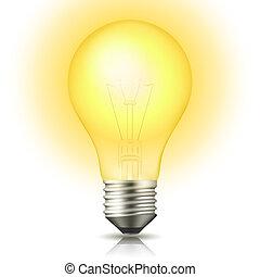 Lit Light Bulb - Realistic lit light bulb isolated on white