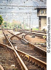lit, métal, voie chemin fer