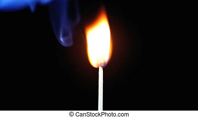 Lit Match and Flame on a Black Background and then goes out...