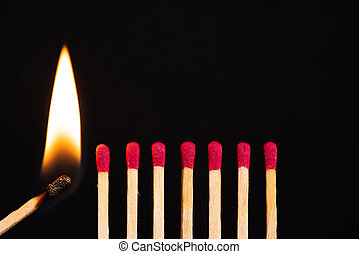 Lit match next to a row of unlit matches. The Passion of One Ignites New Ideas, Change in Others.