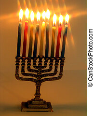 Lit Menorah star fil - ,Lit menorah with a star filter