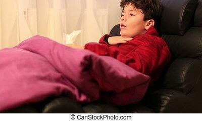 lit, mensonge, enfant, reposer, malade, maison, grippe