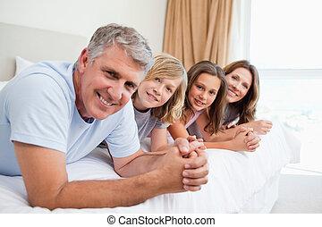 lit, mensonge, famille, gai