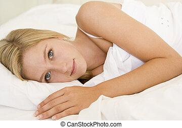 lit, mensonge, femme