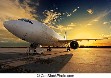 lit, ocaso, avión, -, espalda