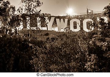 lit, signe hollywood, nuit
